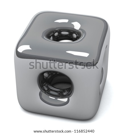 Abstract silver cube design 3d