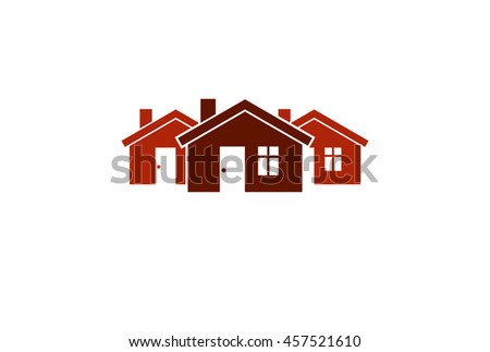 Abstract simple country houses illustration, homes image. Touristic and real estate idea, three cottages front view, district. Construction business or property developer theme. - stock photo