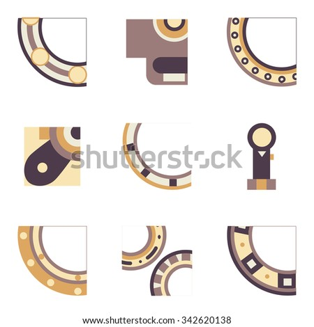 Abstract simple flat color design icons for set of quarter parts of bearings. Ball, radial, roller and other types bearings for mechanism components - stock photo