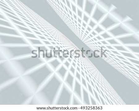 Abstract simple white tech background -  computer-generated image. Fractal geometry - floor and ceiling, converging to the horizon. Modern backdrop with perspective and grid.