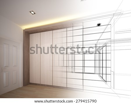 abstract sketch design of interior - stock photo