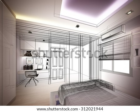 abstract sketch design of interior bedroom - stock photo