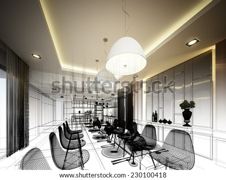 abstract sketch design of interior dining - stock photo