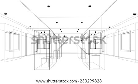 abstract sketch design of interior exhibition room ,museum - stock photo