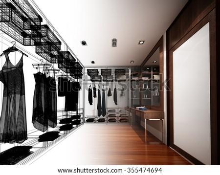 abstract sketch design of interior walk-in closet - stock photo