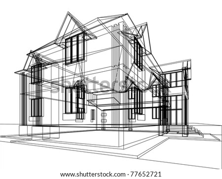 Abstract sketch of house. Architectural 3d illustration. - stock photo