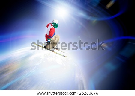 Abstract skier catching some major air flying through outer space. - stock photo