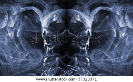 abstract skull and smoke - stock photo