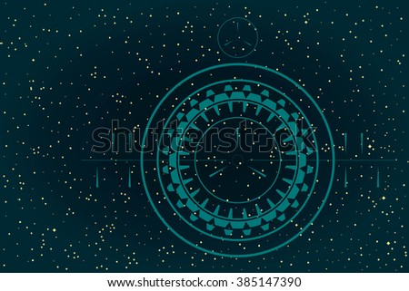 Abstract Sky Background. Map of Hemisphere. View Through a Telescope. Raster Illustration