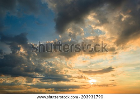 abstract sky sunset background - stock photo