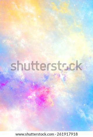 Abstract sky with color clouds. Fantasy soft pattern with lighting effect. Beautiful background for wallpaper, interior, album, flyer cover, poster. Fractal artwork for creative graphic design. - stock photo