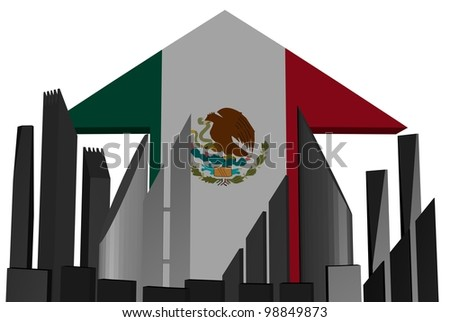 abstract skyline and Mexico flag arrow illustration