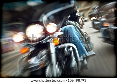 Abstract slow motion, bikers riding motorbikes, drivers racing on a bikes, front view, blur movement, summer road trip, speed concept, freedom