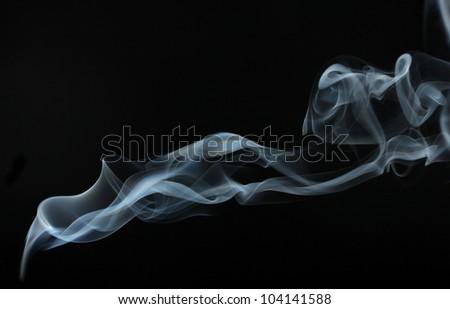 Abstract smoke on black  background - stock photo