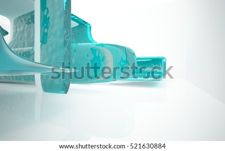 Abstract smooth future interior swimming pool with turquoise water. Architectural background. 3D illustration and rendering