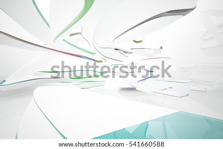 Abstract smooth  white interior with colored glossy lines. 3D illustration and rendering