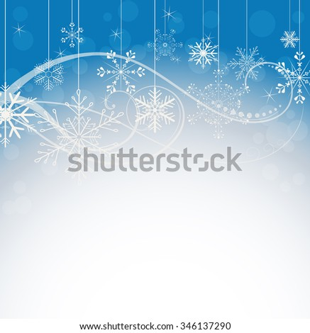 abstract snowflakes line art winter background. JPG version