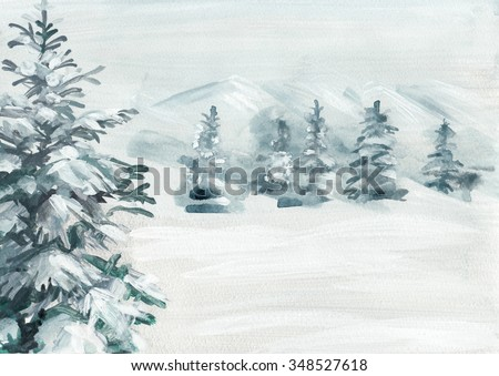 Abstract snowy land with pine tree hand painted background. High resolution scan. - stock photo