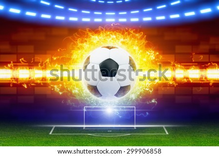 Abstract soccer background - burning soccer ball, soccer ball in fire, soccer goal on green field, world sports event - stock photo