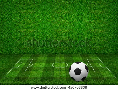 Abstract soccer ball and soccer field pattern with green grass wall texture background. Soccer ball 3D illustration. - stock photo