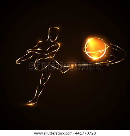 Abstract soccer speed shooting a soccer ball. Football. Player. Forward. Kick. Game. Ball flies rebound high speed spinning. - stock photo
