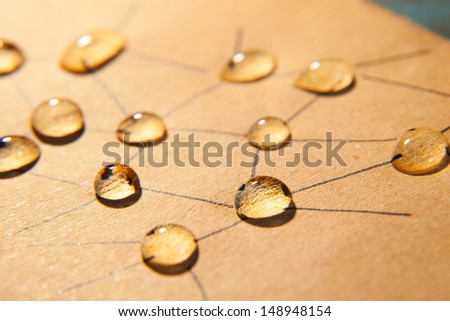 Abstract social network structure with drop water. - stock photo