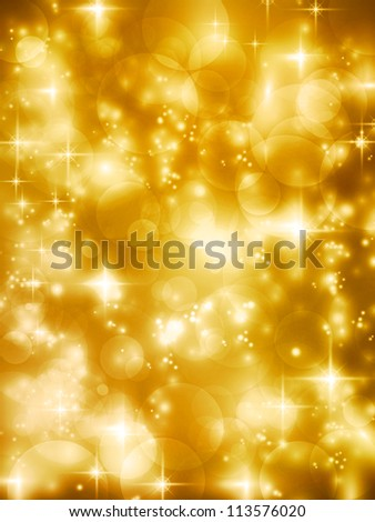 Abstract soft blurry background with bokeh lights, highlights and stars in soft golden shades. The festive feeling makes it a great backdrop for many Christmas or other celebrations. - stock photo