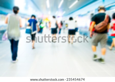 Abstract soft focus background passenger in the subway - stock photo