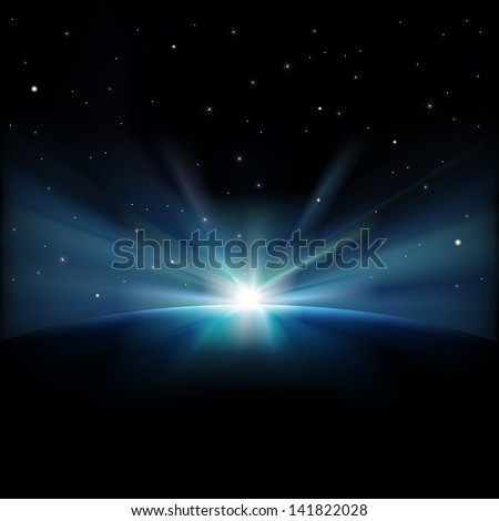 abstract space background with stars and sunrise - stock photo