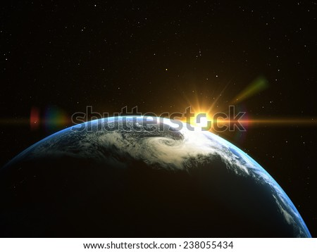 Abstract space sunrise. Elements of this image furnished by NASA  - stock photo