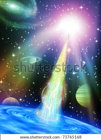 abstract space vortex fantasy - stock photo