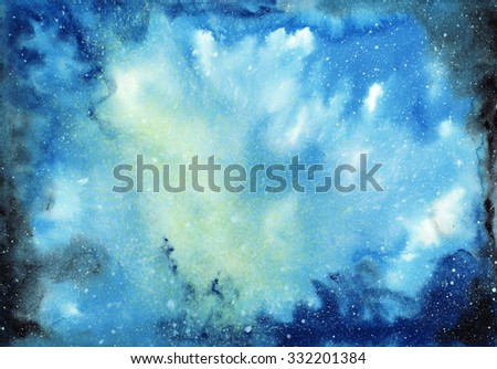 Abstract space watercolor background with starry sky and gas clouds - stock photo