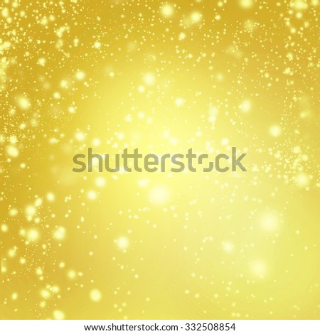 Abstract Sparkling Merry Christmas card - Golden Christmas lights  and snowflakes  - stock photo