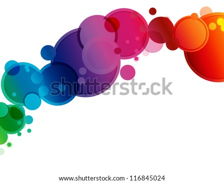 Abstract Spectrum Circle Background - Abstract background of circles in spectrum colors and bokeh transparency - stock photo