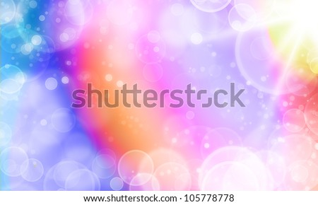 abstract spectrum color background with cycle bokeh lights and stars - stock photo