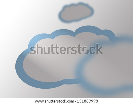 Abstract speech bubbles in the shape of clouds used in a social networks on light blue background. Cloud computing concept - stock photo