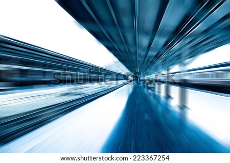 Abstract speed blur railway track at train station. - stock photo