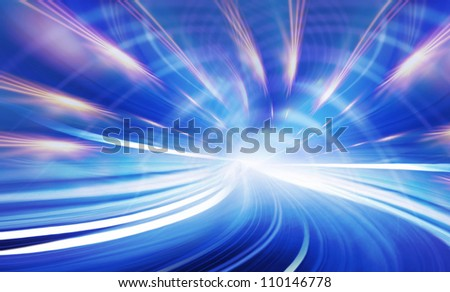 Abstract speed technology background illustration. Urban tunnel road, blurred motion toward the light. Computer generated blue illustration. Light trails, fiber optics - stock photo