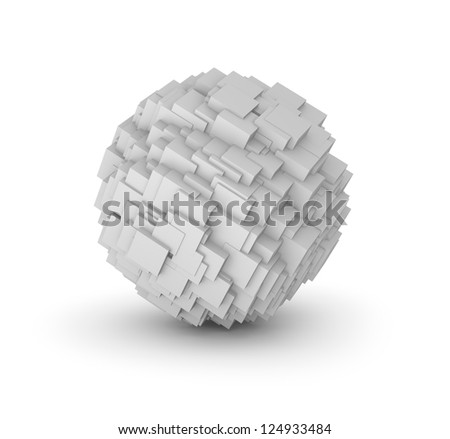 Abstract sphere composed from cubes. Isolated on white