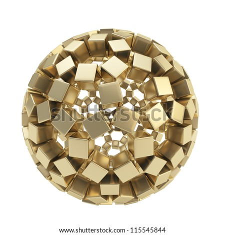Abstract sphere composition made of golden glossy cubes isolated on white background - stock photo