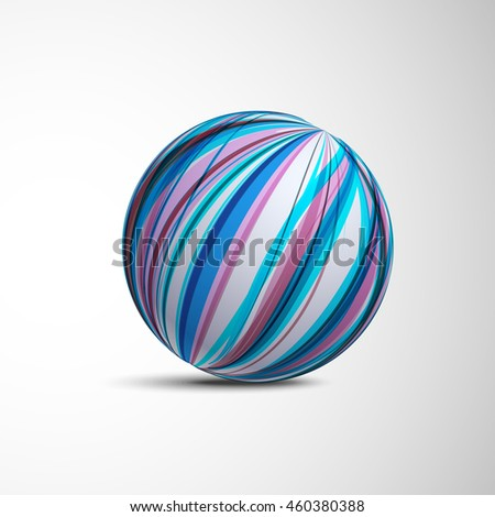 Abstract Sphere from Blue and Red Lines. Creative Round Concept