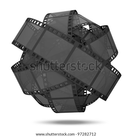 Abstract Sphere From Classic Film Strip isolated on white background - stock photo