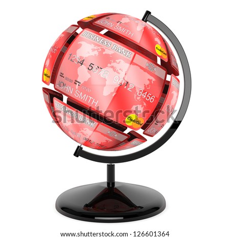 Abstract sphere from credit cards as globe on a white background - stock photo