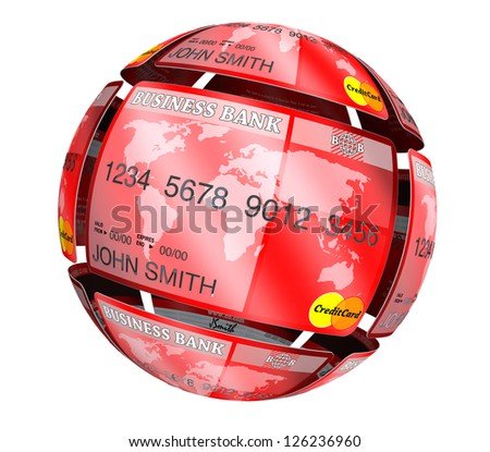 Abstract sphere from credit cards on a white background - stock photo