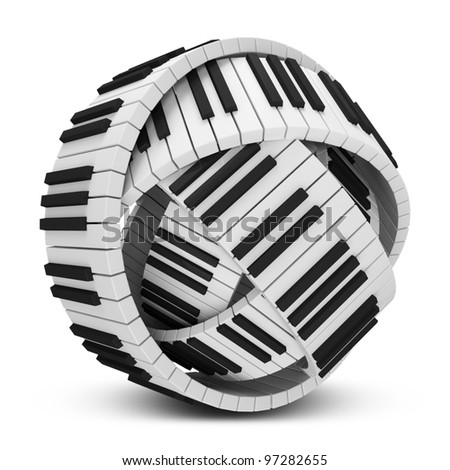 Abstract Sphere from Piano Keys isolated on white background - stock photo