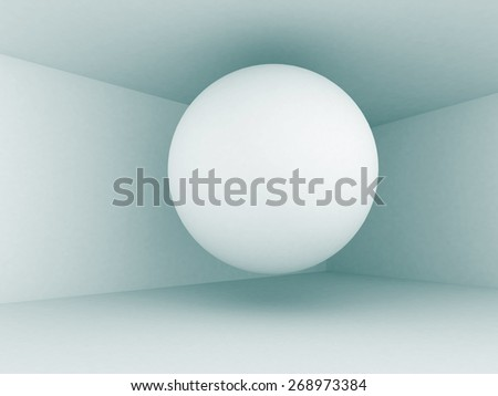 Abstract Sphere In Empty Architecture Interior Background. 3d Render Illustration - stock photo