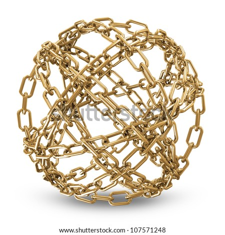 Abstract Sphere Made From Golden Chains on white background - stock photo