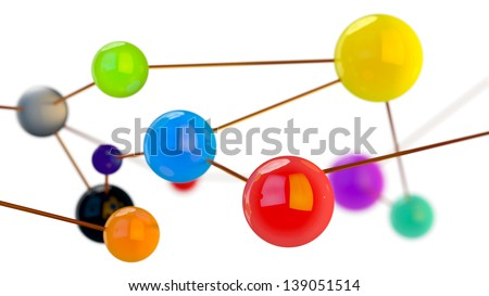 abstract spherical objects connected in one network