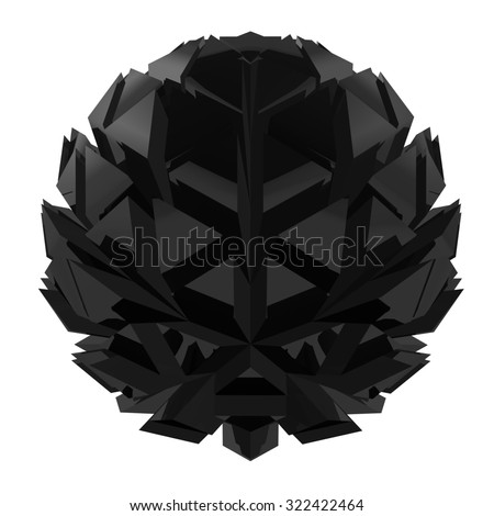 Abstract spherical triangle polygon black flower isolated on white background. - stock photo