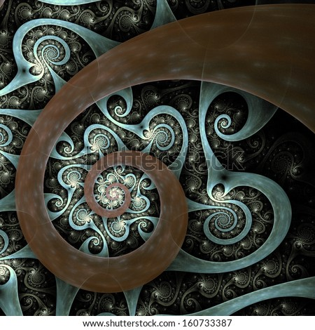 Abstract spiral art backdrop  on black background.